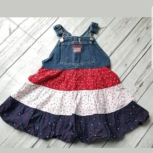 Oshkosh bgosh denim 3 tier ruffle overall dress
